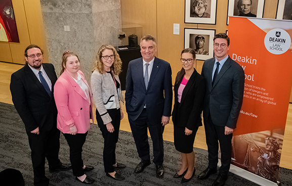 The Hon Chris Maxwell, President of the Victorian Court of Appeal with DLS students